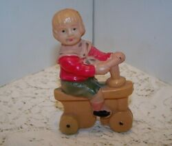 Celluloid Boy On Push Scooter, Celluloid Toy Rattle