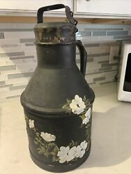 Antique Rare Large Heavy Metal Milk Cream Can Canister
