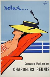 Rene Gruau Original Vintage French Poster 1961 - Relax For Chargeurs Réunis