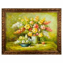 Large Sell Life Flowers Oil On Canvas Painting, Signed And Framed