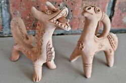 Clay Terracotta Pottery Figurines.. Zodiac ..dragon And Goat..signed