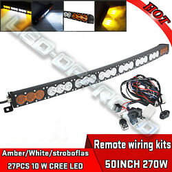 Curved 50inch 270w Single Row Led Light Bar Spot Flood Combo Driving Offroad 4wd