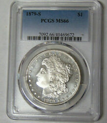 Pcgs Ms66 1879-s Morgan Silver Dollar Cameo Contrast Obverse And Reverse