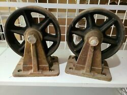 Matched Pair Antique Casters 8 Cast Iron Industrial Spoked Wheels Steampunk