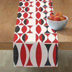 Table Runner Vintage Geometric Red Cherry Tapestry Black Cotton Sateen