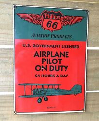 Phillips 66 Aviation Products Metal Sign Porcelain Coated Gas And Oil // Sale //