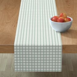 Table Runner Rustic Grid Watercolor Farmhouse Checkered Mint Green Cotton Sateen