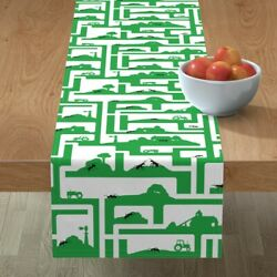 Table Runner Ants Insects Bugs Farms Tractors Barns Maze Cotton Sateen