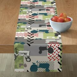 Table Runner Tractors Farm Red Green Grey Wheels Vehicles Cotton Sateen