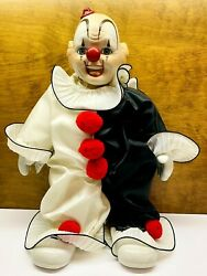 Vintage 1985 House Of Global Art Porcelain Wind Up Musical Clown Doll 16 Tall