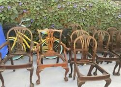 8 Antique Queen Anne Chairs With Seat Cushions +1 Extra Chair