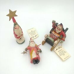 House Of Hatten Wooden Santa Claus Figurines Lot Of 3 Denise Calla Vintage 1988