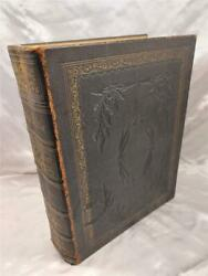 Large Pictorial Leather Holy Bible Scott And Henry Colour Plates And Maps - 1864