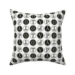 Typo Black And White Vintage Throw Pillow Cover W Optional Insert By Roostery
