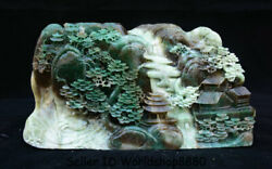 10.6 Natural Dushan Green Jade Carved Old Man Boat Mountain Water Tree Statue