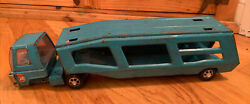 Vintage Buddy L 1970's Blue Car Hauler Carrier Pressed Steel Toy Collectible