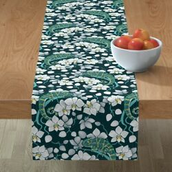 Table Runner Rainforest Chameleon And Orchid Floral Decor Orchids Cotton Sateen