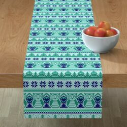 Table Runner Woodland Winter Pixel Forest Knitted Look Aqua Mint Cotton Sateen
