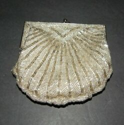Special Occasions by Saugus Shoe Beaded Silver Evening Bag Purse $8.00
