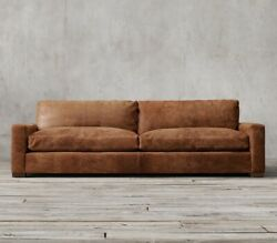 Restoration Hardware 9andrsquo Maxwell Luxe Extra Deep Brown/espresso Leather Sofa