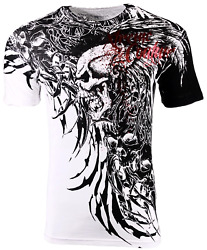 Xtreme Couture Affliction Menand039s T-shirt Brutal Combat White Skull Biker Tattoo