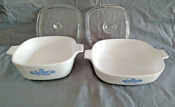 2 Vintage Corning Ware Blue Cornflower Baking Dishes P-1 1/2-b And P-9-b + Extras