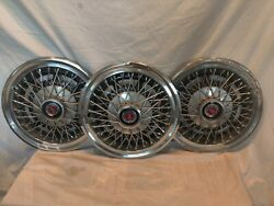 3ford Vintage Wire Spoke Chrome Hub Cap Wheel Cover With Crown Lions Logo. Nice.