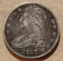 Antique 1837 Capped Bust Type 2 Reeded Edge Silver Half Dollar 50c 50 Cents Rev.