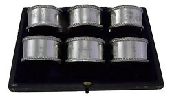 Antique Sterling Silver - Set Of 6 J Sherwood And Sons Napkin Rings - Boxed - 1910