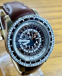 Fortis B-47 Calculator Gmt 3 Time Zones Limited Edition Pilot Watch Us Seller