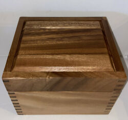 Ironwood Gourmet Acacia Wood Recipe Box With Divider Tabs, Cards, 2 Compartment