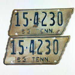 Tennessee 1953 License Plate Pair Rare Tn Tag County 15 Vtg Set State Shaped