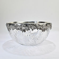 Large American Gorham Sterling Silver Mounted Cut Glass Bowl - Abp Brilliant Gl