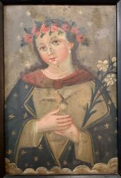 Early 19th C. Mexican Oil On Tin Retablo And039alma De Mariaand039 Red Bole Group