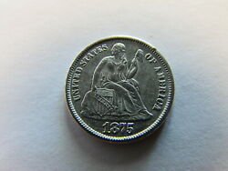 1875 Cc Seated Liberty Dime Carson City 10 Cents Silver 10c Coin Cc Above
