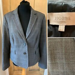 Hobbs Wool Blend Grey Check Fitted Jacket Size Uk 14 Smart Work Office Plaid
