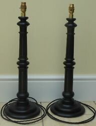 Pair Large Victorian Antique Ebonised And Brass Table Lamps