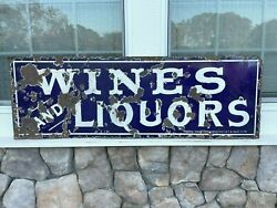 Single Sided Porcelain Sign Wines And Liquors Circa 1901 Federal Sign System
