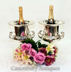 Pair Art Nouveau Silver Plate Wine Coolers - Champagne Ice Bucket