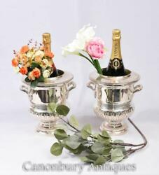 Pair Art Nouveau Silver Plate Wine Champagne Ice Bucket Urn Cooler