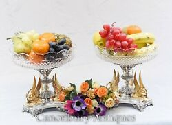 Pair Silver Plate Glass Dishes - Sheffield Epergnes Gilt Dippers Cut Plates