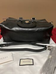 Duffle Bag Soft 587866 Black Calfskin Leather Convertible To Backpack New