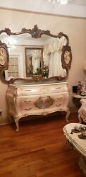 Vintage French Italian Rococo Louis Xv Gold Wall Mantle Mirror Porcelain Figures