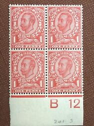 11m] Gb Stamps - Kg V - One Penny - Sg 345 - Nc241][w] Block Of Four - B12