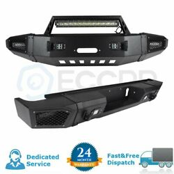 Textured Front Rear Bumper Protector W/led Work Lights For 15-17 Chevy Silverado