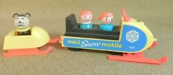 Vintage Fisher Price Mini Snowmobile 705 Complete W Correct Wood Little People