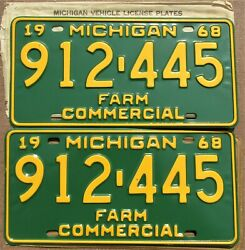 1968 Michigan Farm Commercial License Plate Pair - Bright And Unused 912-445