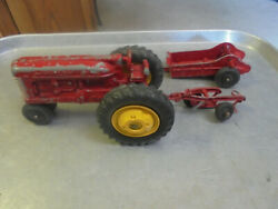 Vintage Ih Hubley Farm Tractor With Manure Spreader And Plow Kiddie Toy
