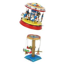 2pack Windup Airplane Carousel Model Clockwork Tin Toys Collectible Gifts