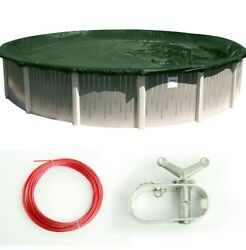 Supreme Green/black Swimming Pool Round Winter Closing Cover Multiple Sizes